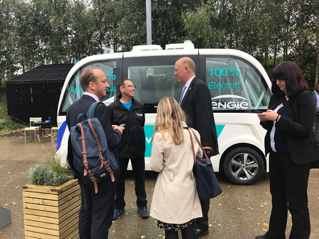 Chris Grayling MP talks with Park Champion at the launch of the autonomous shuttle bus trial